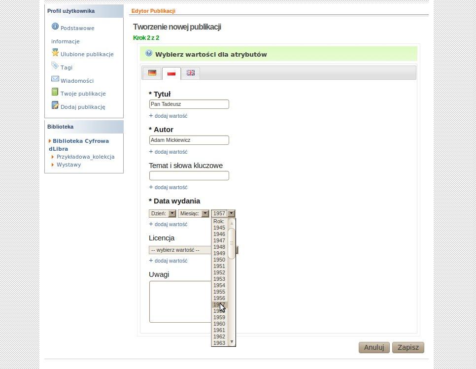 Kreator dodawania publikacji przez WWW